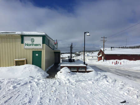 Fort Chipewyan, Alberta, Canada - March 17th, 2016: The Northern grocery store in Fort Chipewyan, where locals buy often overpriced and spoiled foods due to the cost and length of shipping.