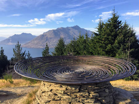 Queenstown, New Zealand - February 8th, 2016: Closeup of the Basket of Dreams atop the Queenstown Hill Time Walk overlooking Lake Wakatipu in beautiful Queenstown, New Zealand.