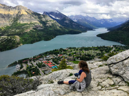 A look above on the town of Waterton on a dark cloudy day