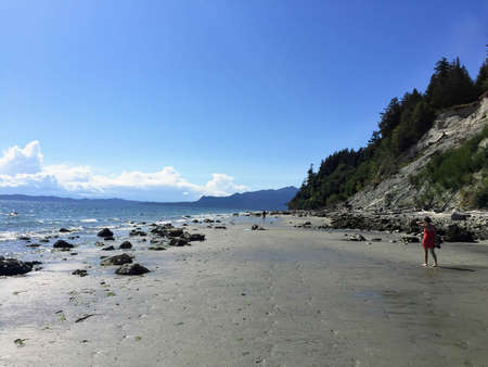 The vast, sandy beaches of Buccaneer Bay on a beautiful summer day on Thormanby Island, British Columbia, Canada