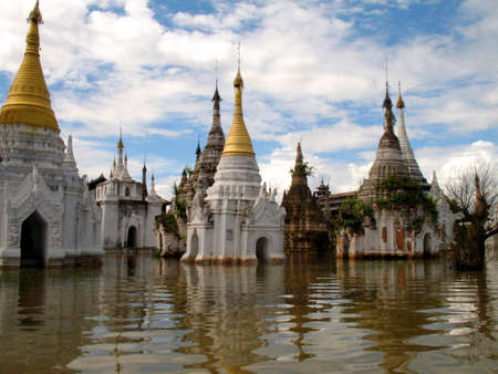 flooded temples, inle lake, burma photo