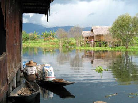 inle: floating village, inle lake, burma