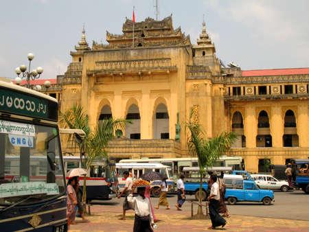 Myanmar: colonical b�timent, Yangon Banque d'images
