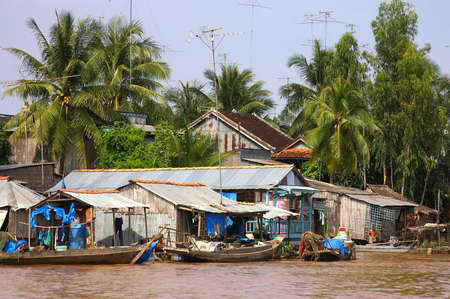 polluted river: vietnamese village on river