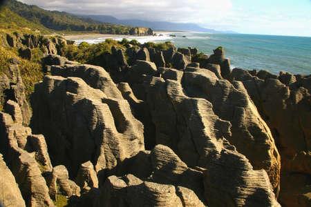 �rock formation�: pancake rock formation Stock Photo