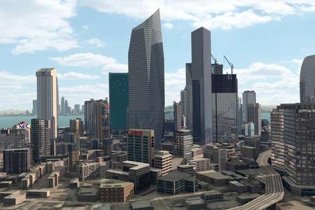 futuristic city: Imaginary city Stock Photo