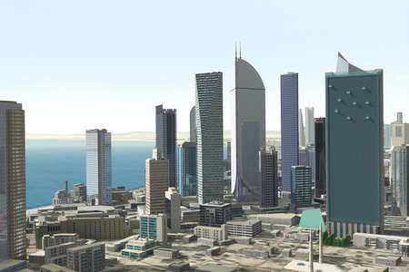 polluted cities: Imaginary city Stock Photo