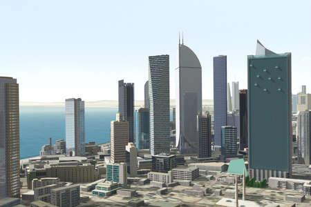 glazing: Imaginary city Stock Photo