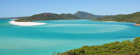Looking down on Whitehaven beach on the Great Barrier Reef in Australia