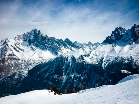 Snowy mountain view in the French Alps in winter Banco de Imagens