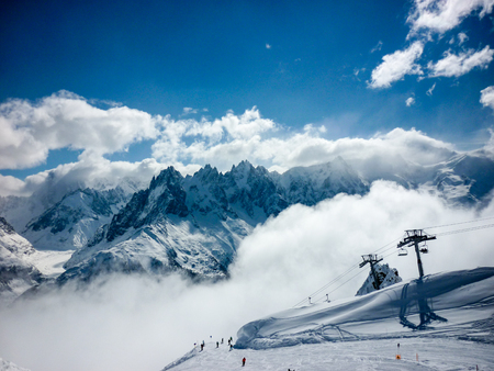 A sunny, snowy day in the French Alps above Chamonix