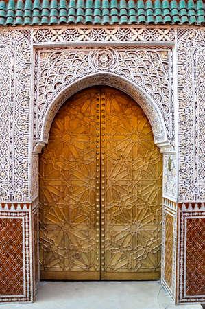 Ornate door in Marrakech in Morocco Banco de Imagens