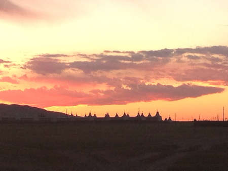 Temple complex in Kharakhorum Mongolia at sunset