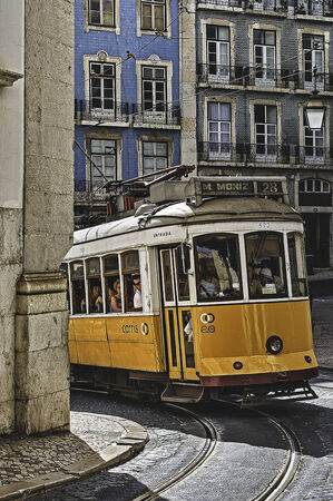 streetcar: Streetcar in Lisbon Editorial