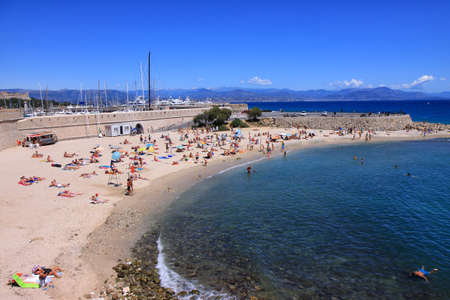 Busy beach in Antibes