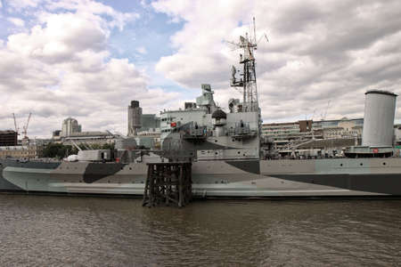 Battleship on river on London Editorial