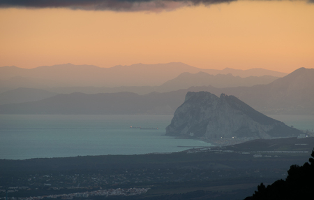 Rock of Gibraltar, Sunset Africa in the Background