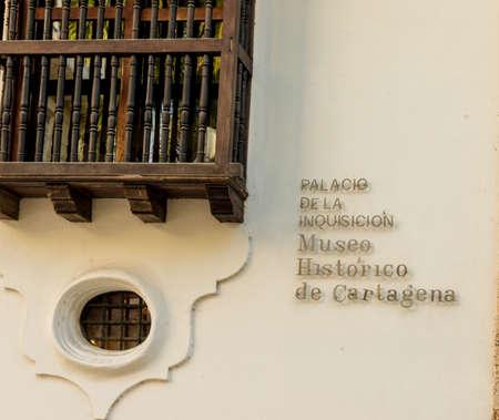 Cartagena, Colombia. Abril de 2018. Vista del palacio de la inquisición en Cartagena, Colombia.