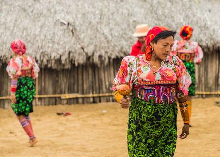 San blas islands, Panama. March 2018. A view of Kuna yala dancing a traditional dance in the san Blas Islands, Panama. Editorial