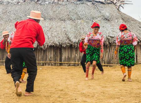 San blas islands, Panama. March 2018. A view of Kuna yala dancing a traditional dance in the san Blas Islands, Panama.