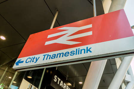 London. May 2018. A view of the city Thameslink rail sign in the City of london.