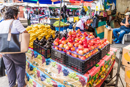 San salvador, El salvador. January 2018. A view of a typical fruit market scene in the central street market in San Salvador, El Salvador. Editorial