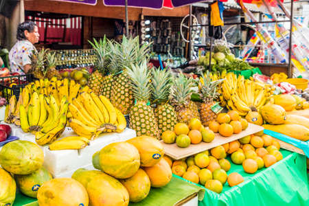 San salvador, El salvador. January 2018. A view of a typical fruit market scene in the central street market in San Salvador, El Salvador.