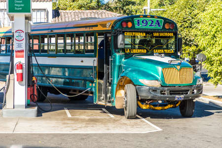 San salvador, El salvador. January 2018. A view of a traditional bus in a petrol station in San Salvador, El Salvador. Editorial