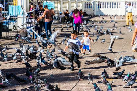 San salvador, El salvador. Enero de 2018. Vista de niños jugando con palomas en Santa Ana, El Salvador. Editorial