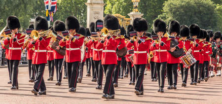 London. June 9 2018. A view of some of the massed military bands during the Queens birthday celebrations of Trooping the Colour