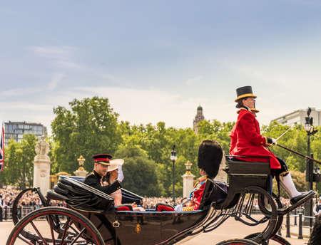 Londra. 9 giugno 2018. Una vista del principe Harry e Meghan Markle durante le celebrazioni per il compleanno del Queens di Trooping the Colour