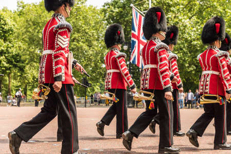 London. June 9 2018. A view of some of the massed band members during the Queens birthday celebrations of Trooping the Colour