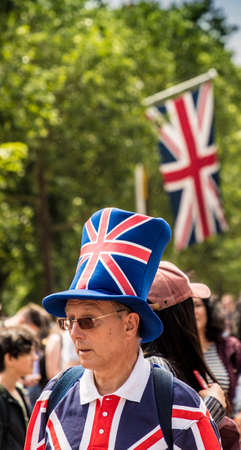 London. June 9 2018. A view of patriotically dressed people during the Queens birthday celebrations of Trooping the Colour