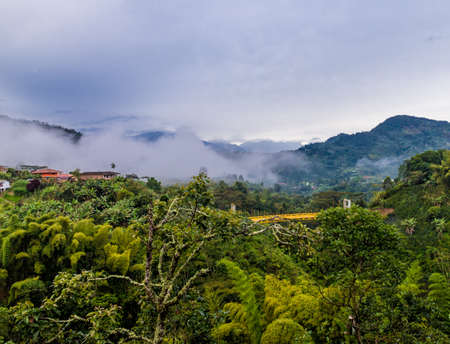 A view of the landscape from the top of the hill of the Garrucha wooden cable car viewpoint in the picturesque town of Jardin in Colombia.