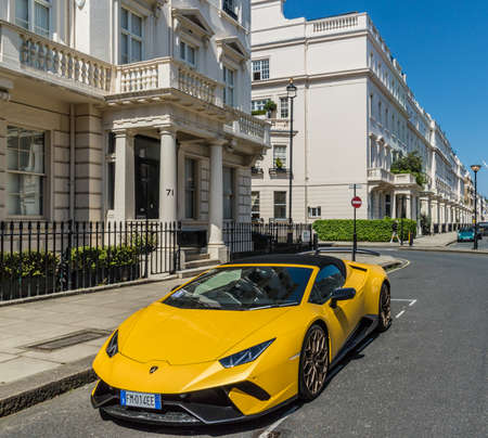 London. May 2018. A view of the affluent and expensive homes in Belgravia in London
