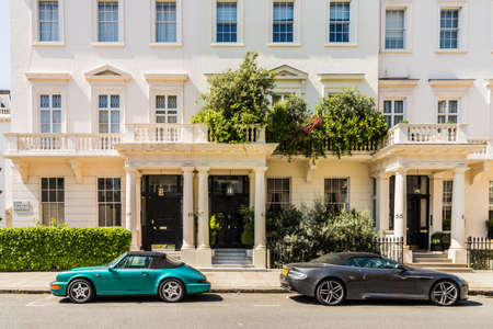 London. May 2018. A view of the affluent and expensive homes in Belgravia in London Editorial