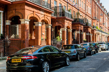 London. May 2018. A view of Affluent and expensive homes in Knightsbridge Lonodnn Editorial