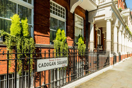 London. May 2018. A view of the street sign Cadogan gardens in the Affluent and expensive area of Knightsbridge Lonodnn