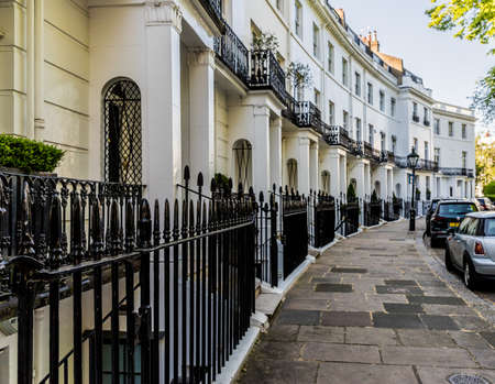London. May 2018. A view of the affluent and expensive homes in Knightsbridge in London Editorial