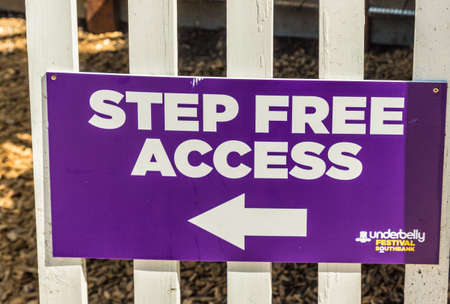 London. June 2018. A view of a sign stating step free access, for the underbelly festival along the south bank in London