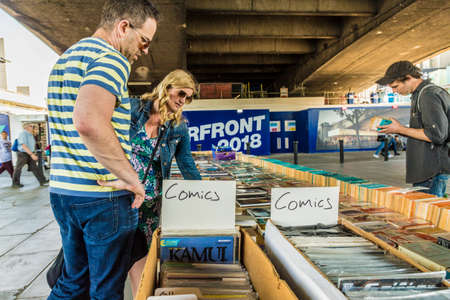 London. June 2018. A view of the second hand book stalls along the south bank in London