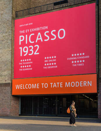 London. June 2018. A view of the picasso show at the Tate Modern along the south bank in London.