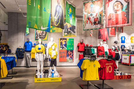 London. June 2018. A view of the Brazil and England football kits in the Nike town flagship store in London.