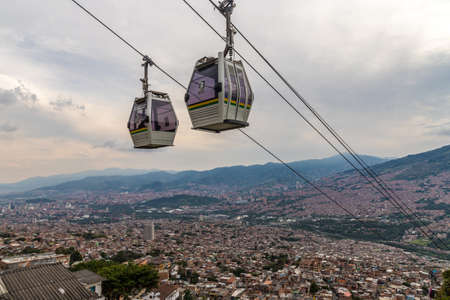 Medellin, Colombia. April 2018. A view of the mass transport system cable cars over Medellin in Colombia.