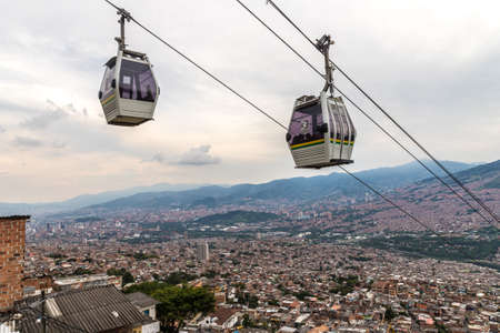 Medellin, Colombia. April 2018. A view of the mass transport system cable cars over Medellin in Colombia. Editorial