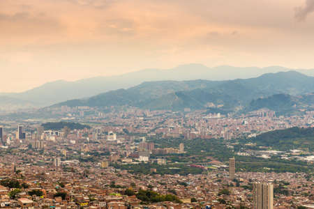 A view of the crowded city from high up over Medellin Colombia. Stock Photo