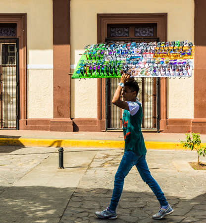 Leon, Nicaragua. February 2018. A view of a street seller selling sunglasses in Leon Nicaragua