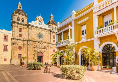 Cartagena, Colombia. maart 2018. Een zicht op de kathedraal San Pedro Claver in Cartagena Colombia.