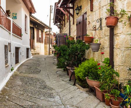 A typical view of a typical street in the traditional village Omodos in Cyprus.