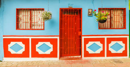 Guatape, Colombia. April 2018. A view of typically colourful buildings in Guatape Colombia.